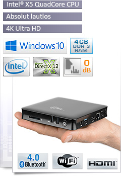 Mini PC - CSL Narrow Box 4K 4GB / Win 10 - schwarz