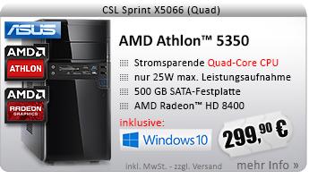 QuadCore! PC-System mit AMD Athlon 5350 APU 4x 2050 MHz, 500GB SATA, 4096MB DDR3, Radeon HD 8400, DVD-RW, CardReader, GigLAN, 7.1 Sound, USB 3.0, Windows 10 Home