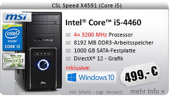 QuadCore! PC-System mit Intel Core i5-4460 4x 3200 MHz, 1000GB SATA, 8192MB DDR3, Intel HD Graphics 4600, DVD-RW, CardReader, GigLAN, 7.1 Sound, USB 3.0, Windows 10 Home