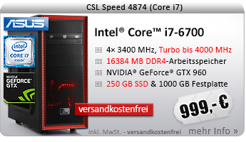 QuadCore! PC-System mit Intel Core i7-6700 4x 3400 MHz, 250GB SSD Samsung, 1000GB SATA, 16384MB DDR4, ASUS GeForce GTX 960, DVD-RW, GigLAN, 7.1 Sound, USB 3.0