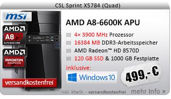 QuadCore! PC-System mit AMD A8-6600K APU 4x 3900 MHz, 120GB SSD, 1000GB SATA, 16384MB DDR3, Radeon HD 8570D, DVD-RW, CardReader, GigLAN, 7.1 Sound, USB 3.0, Windows 10 Home