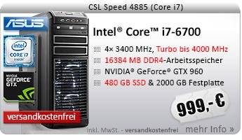 QuadCore! PC-System mit Intel Core i7-6700 4x 3400 MHz, 480GB SSD Crucial, 2000GB SATA, 16384MB DDR4, ASUS GeForce GTX 960, DVD-RW, GigLAN, 7.1 Sound, USB 3.0