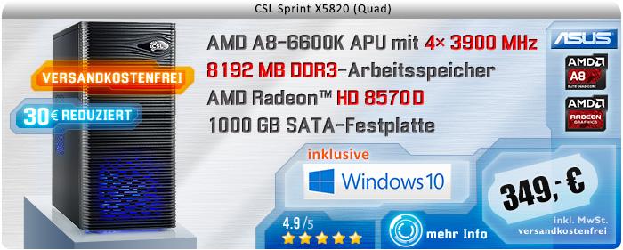 QuadCore! PC-System mit AMD A8-6600K APU 4x 3900 MHz, 1000GB SATA, 8192MB DDR3, Radeon HD 8570D, DVD-RW, GigLAN, 7.1 Sound, USB 3.0, Windows 10 Home