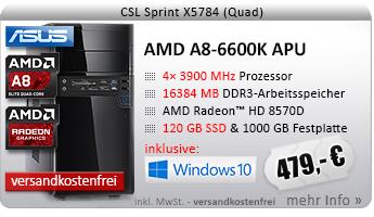QuadCore! PC-System mit AMD A8-6600K APU 4x 3900 MHz, 120GB SSD Kingston, 1000GB SATA, 16384MB DDR3, Radeon HD 8570D, DVD-RW, CardReader, GigLAN, 7.1 Sound, USB 3.0, Windows 10 Home
