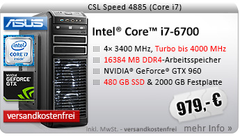 QuadCore! PC-System mit Intel Core i7-6700 4x 3400 MHz, 480GB SSD Crucial, 2000GB SATA, 16384MB DDR4, GeForce GTX 960, DVD-RW, GigLAN, 7.1 Sound, USB 3.0