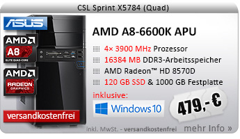 QuadCore! PC-System mit AMD A8-6600K APU 4x 3900 MHz, 120GB SSD Kingston, 1000GB SATA, 16384MB DDR3, Radeon HD 8570D, DVD-RW, CardReader, GigLAN, 7.1 Sound, USB 3.0, Windows 10 Home
