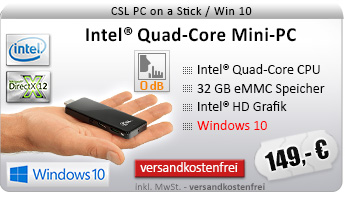 Lautlos! QuadCore! PC-System mit Intel BayTrail Z3735F 4x 1333 MHz, 32GB SSD, 2048MB DDR3, Intel HD Grafik, CardReader, WLAN, Bluetooth, Sound, Windows 10 Home