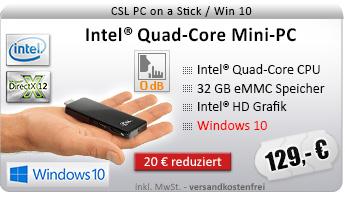 Lautlos! QuadCore! PC-System mit Intel BayTrail Z3735F 4x 1333 MHz, 32GB SSD, 2048MB DDR3, Intel HD Grafik, CardReader, WLAN, Bluetooth, Sound, Windows 10 Home