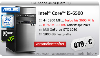 QuadCore! PC-System mit Intel Core i5-6500 4x 3200 MHz, 1000GB SATA, 8192MB DDR4, GeForce GTX 1060 3072MB, DVD-RW, CardReader, GigLAN, 7.1 Sound, USB 3.0