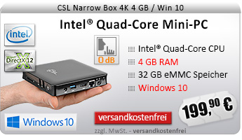 Lautlos! QuadCore! PC-System mit Intel CherryTrail X5-Z8350 4x 1440 MHz, 32GB SSD, 4096MB DDR3, Intel HD Grafik, CardReader, Gigabit LAN, WLAN, Bluetooth, Sound, Windows 10 Home