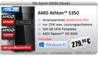 QuadCore! PC-System mit AMD Athlon 5350 APU 4x 2050 MHz, 500GB SATA, 4096MB DDR3, Radeon HD 8400, DVD-RW, CardReader, GigLAN, 7.1 Sound, USB 3.0, Windows 10 Home