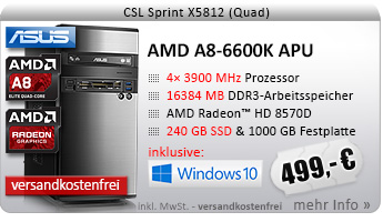 QuadCore! PC-System mit AMD A8-6600K APU 4x 3900 MHz, 240GB SSD Kingston, 1000GB SATA, 16384MB DDR3, Radeon HD 8570D, DVD-RW, CardReader, GigLAN, 7.1 Sound, USB 3.0, Windows 10 Home