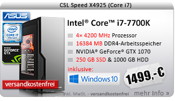 QuadCore! PC-System mit Intel Core i7-7700K 4x 4200 MHz, 250GB SSD Samsung, 1000GB SATA, 16384MB DDR4, ASUS GeForce GTX 1070, DVD-RW, GigLAN, 7.1 Sound, USB 3.1, Windows 10 Home, inkl. Top Spiel aus der ASUS Gaming Week und 20 € Cashback, inkl.