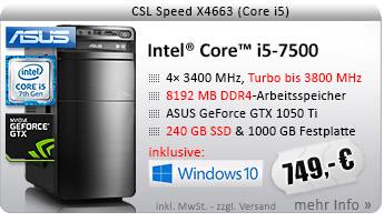 QuadCore! PC-System mit Intel Core i5-7500 4x 3400 MHz, 240GB SSD Kingston, 1000GB SATA, 8192MB DDR4, ASUS GeForce GTX 1050 Ti 4096MB, DVD-RW, CardReader, GigLAN, 7.1 Sound, USB 3.1 Gen 2, Windows 10 Home