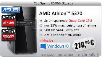 QuadCore! PC-System mit AMD Athlon 5370 APU 4x 2200 MHz, 500GB SATA, 4096MB DDR3, Radeon HD 8400, DVD-RW, CardReader, GigLAN, 7.1 Sound, USB 3.1, Windows 10 Home