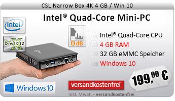 Lautlos! QuadCore! PC-System mit Intel CherryTrail X5-Z8350 4x 1440 MHz, 32GB SSD, 4096MB DDR3, Intel HD Grafik, CardReader, Gigabit LAN, WLAN, Bluetooth, Sound, Windows 10 Home