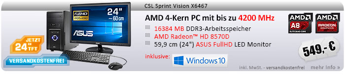"QuadCore! PC-System mit AMD A8-6600K APU 4x 3900 MHz, 1000GB SATA, 16 GB DDR3, Radeon HD 8570D, DVD-RW, CardReader, GigLAN, WLAN, 7.1 Sound, USB 3.1, 60 cm (24"") ASUS TFT LED, CSL Tastatur/Maus, Windows 10 Home"