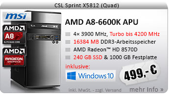 QuadCore! PC-System mit AMD A8-6600K APU 4x 3900 MHz, 240GB SSD Kingston, 1000GB SATA, 16384MB DDR3, Radeon HD 8570D, DVD-RW, CardReader, GigLAN, 7.1 Sound, USB 3.1, Windows 10 Home
