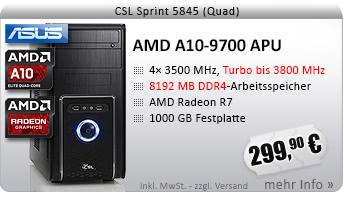 QuadCore! PC-System mit AMD A10-9700 APU 4x 3500 MHz, 1000GB SATA, 8192MB DDR4, Radeon R7 Grafik, DVD-RW, GigLAN, 7.1 Sound, USB 3.1