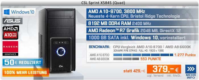 QuadCore! PC-System mit AMD A10-9700 APU 4x 3500 MHz, 1000GB SATA, 8192MB DDR4, Radeon R7 Grafik, DVD-RW, GigLAN, 7.1 Sound, USB 3.1, Windows 10 Home