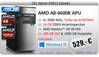 QuadCore! PC-System mit AMD A8-6600K APU 4x 3900 MHz, 240GB SSD Kingston, 1000GB SATA, 16 GB DDR3, Radeon HD 8570D, DVD-RW, CardReader, GigLAN, 7.1 Sound, USB 3.1, Windows 10 Home