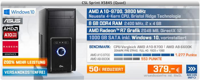 QuadCore! PC-System mit AMD A10-9700 APU 4x 3500 MHz, 1000GB SATA, 8 GB DDR4, Radeon R7 Grafik, DVD-RW, GigLAN, 7.1 Sound, USB 3.1, Windows 10 Home