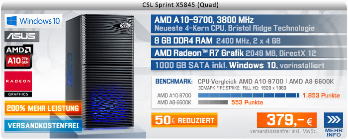 QuadCore! PC-System mit AMD A10-9700 APU 4x 3500 MHz, 1000GB SATA, 8 GB DDR4, Radeon R7 Grafik, DVD-RW, GigLAN, 7.1 Sound, USB 3.1, Windows 10 Home