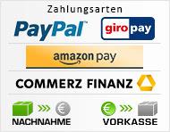 Zahlungsarten: AmazonPayments, PayPal, giropay, Finanzierung, Vorkasse, Nachnahme
